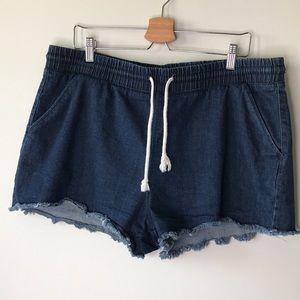 Denim Drawstring Shorts